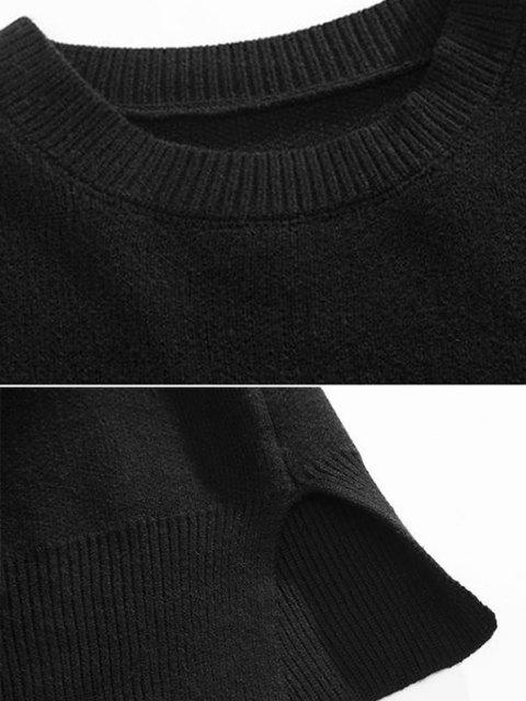 new Drop Shoulder Solid Side Slit Knit Sweater - BLACK L Mobile