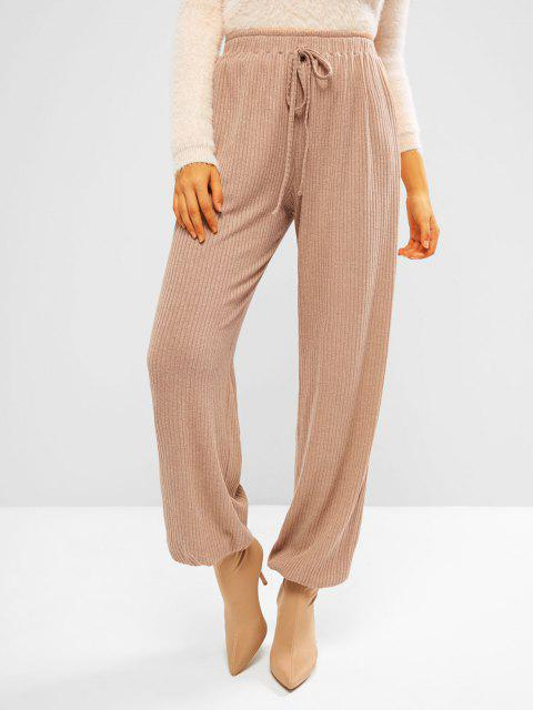 fashion ZAFUL Ribbed Knit Beam Feet Pull On Pants - APRICOT L Mobile