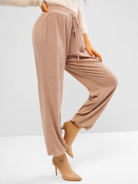 outfits ZAFUL Ribbed Knit Beam Feet Pull On Pants - APRICOT S Mobile