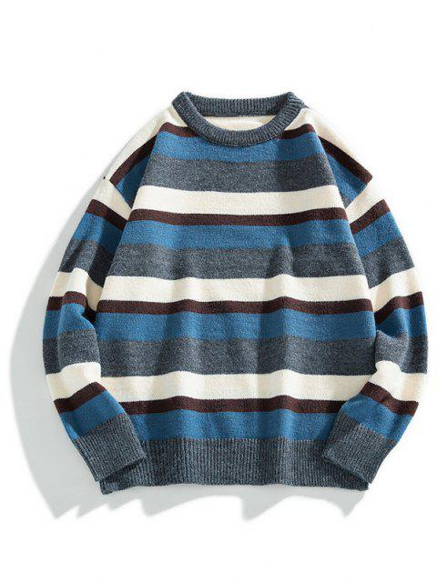 fashion Color Blocking Striped Ribbed-knit Hem Sweater - ASH GRAY M Mobile