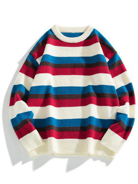 womens Color Blocking Striped Ribbed-knit Hem Sweater - WARM WHITE S Mobile