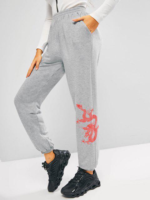 shops ZAFUL Oriental Dragon Pattern Pocket Jogger Sweatpants - ASH GRAY S Mobile