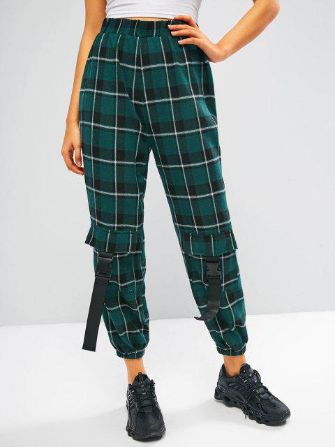 latest ZAFUL Plaid Flannel Buckle Pocket Beam Feet Pants - DEEP GREEN L Mobile