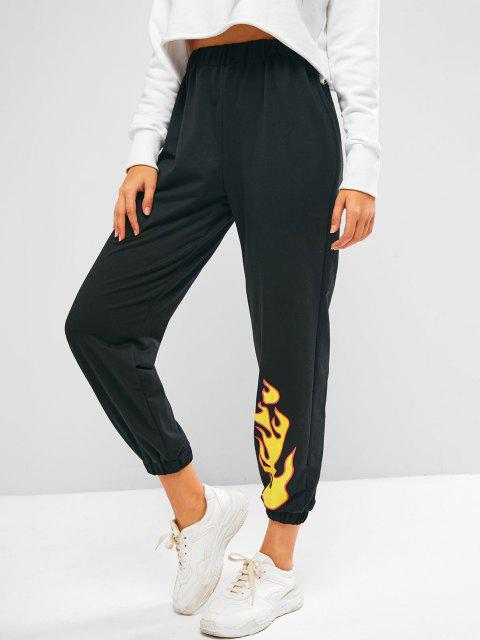 ladies ZAFUL Flame Pattern Pull On Jogger Sweatpants - BLACK L Mobile
