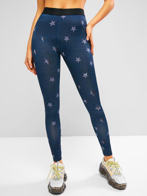 shop Stars Graphic High Rise Embossed Waist Leggings - DEEP BLUE S Mobile