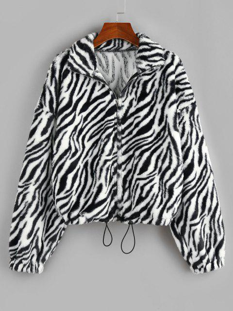 ZAFUL Animal Striped Faux Fur Drop Shoulder Jacket - متعددة-A S Mobile