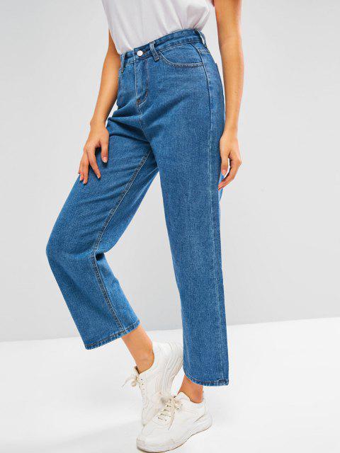 sale Plain Baggy Wide Leg Jeans - BLUE M Mobile