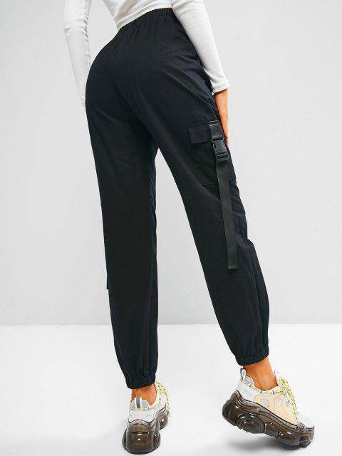affordable ZAFUL Buckle Pocket Beam Feet Cargo Pants - BLACK S Mobile