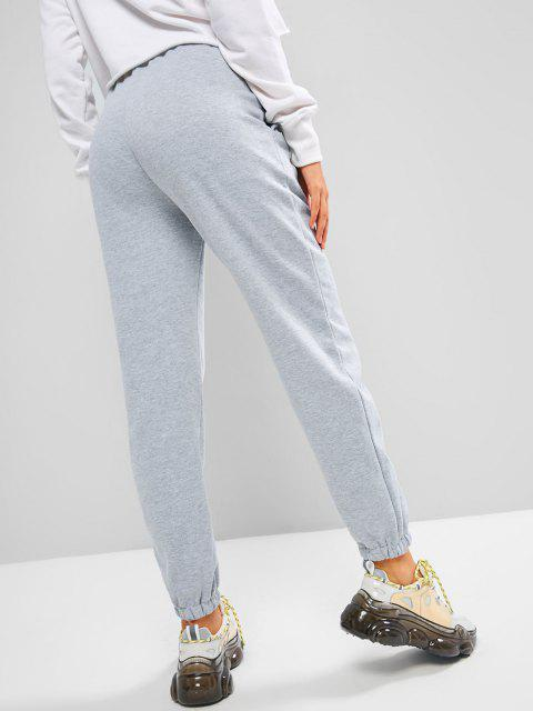 outfits ZAFUL Fleece Lined Beam Feet Pull On Sweatpants - LIGHT GRAY L Mobile
