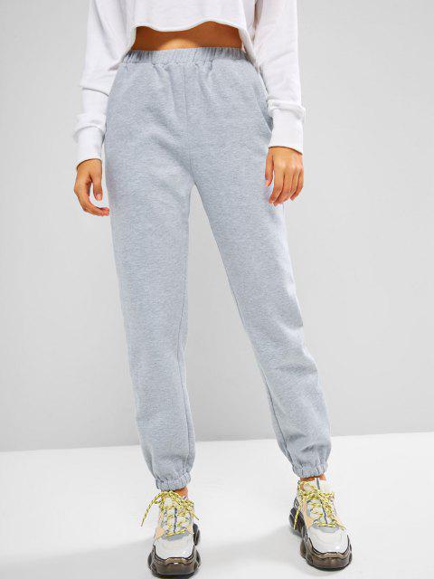shop ZAFUL Fleece Lined Beam Feet Pull On Sweatpants - LIGHT GRAY S Mobile