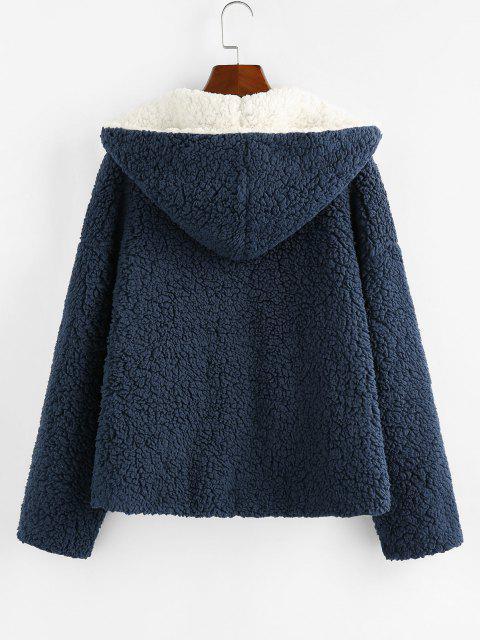 womens ZAFUL Hooded Reversible Pocket Open Teddy Coat - MULTI-A XL Mobile
