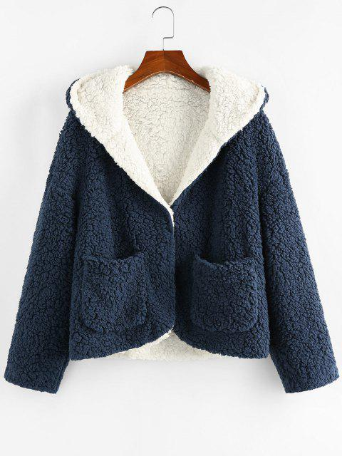 outfits ZAFUL Hooded Reversible Pocket Open Teddy Coat - MULTI-A S Mobile