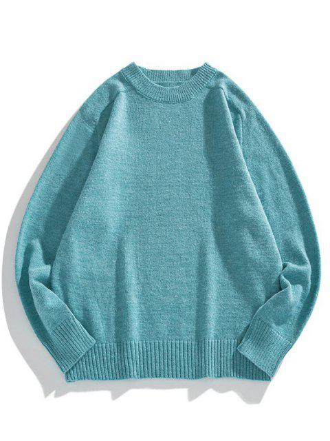 outfit Solid Crew Neck Raglan Sleeve Sweater - BLUE IVY L Mobile