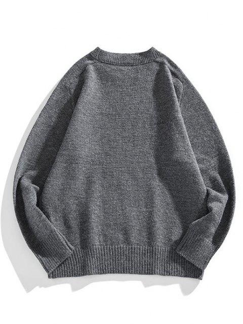 sale Solid Crew Neck Raglan Sleeve Sweater - CARBON GRAY 2XL Mobile