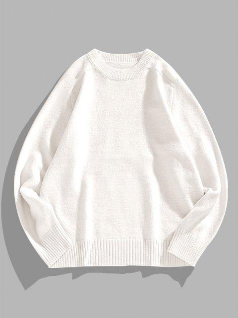 sale Solid Crew Neck Raglan Sleeve Sweater - WHITE XL Mobile