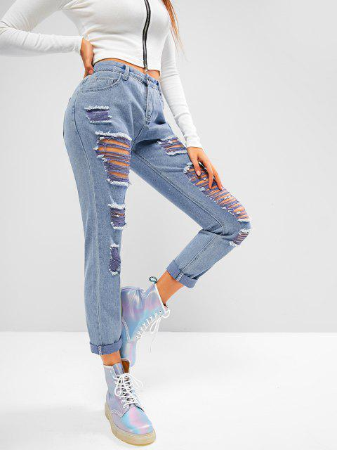 affordable Mid Rise Destroyed Tapered Jeans - DENIM BLUE S Mobile