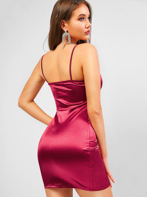 trendy ZAFUL V Wired Sheeny Cami Bodycon Dress - FIREBRICK S Mobile