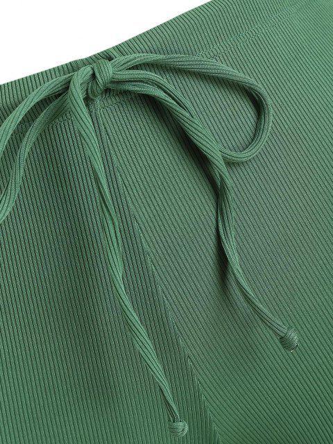 women's ZAFUL Plus Size Ribbed Drawstring Swim Boyshorts - GREEN XXXL Mobile