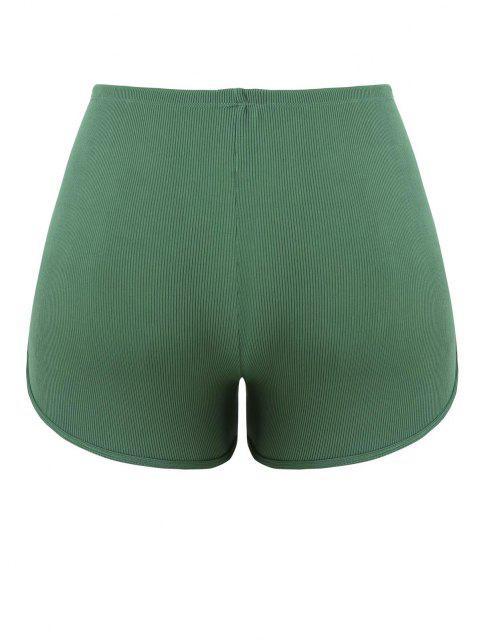 ladies ZAFUL Plus Size Ribbed Drawstring Swim Boyshorts - GREEN XXXXL Mobile