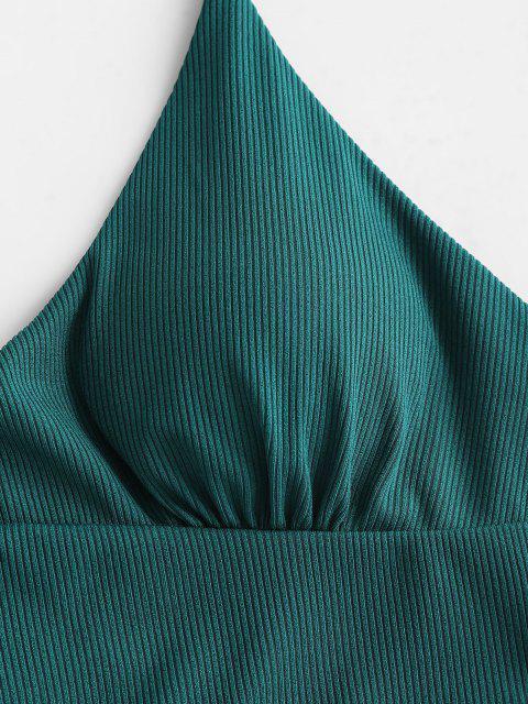ZAFUL Geripptes Halfter Bikini-Top - Pfauenblau S Mobile