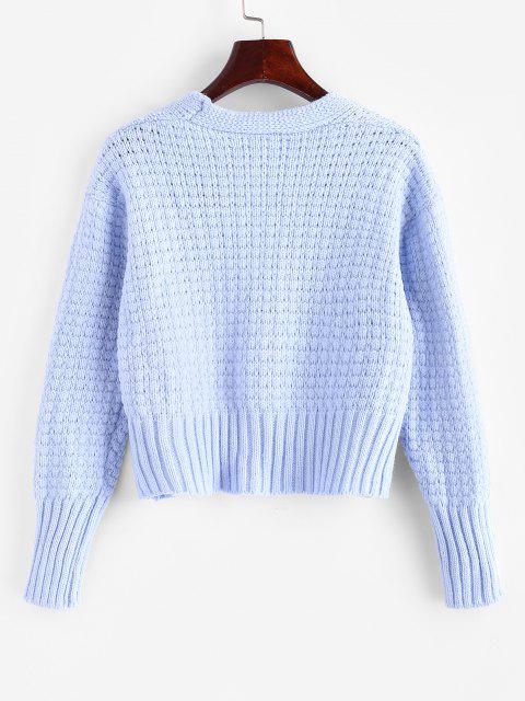 latest One Buttoned Cropped Pointelle Knit Cardigan - LIGHT BLUE ONE SIZE Mobile