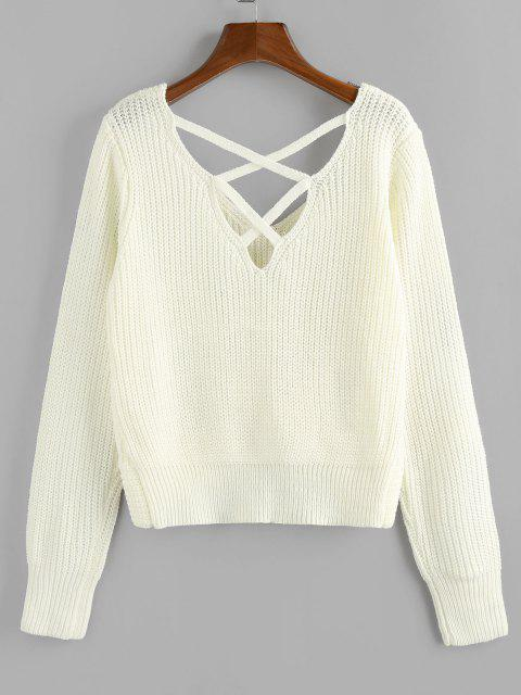 outfit ZAFUL Criss Cross Twisted Plain Sweater - WHITE L Mobile
