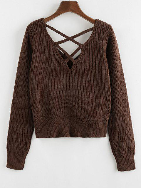 ladies ZAFUL Criss Cross Twisted Plain Sweater - DEEP BROWN S Mobile