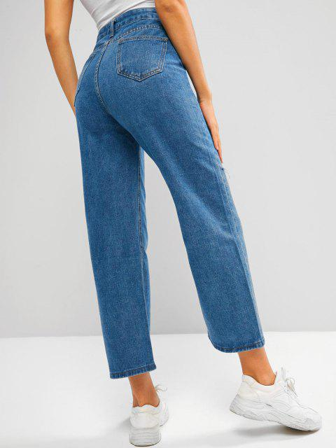 fancy Baggy Ripped Wide Leg Jeans - BLUE L Mobile