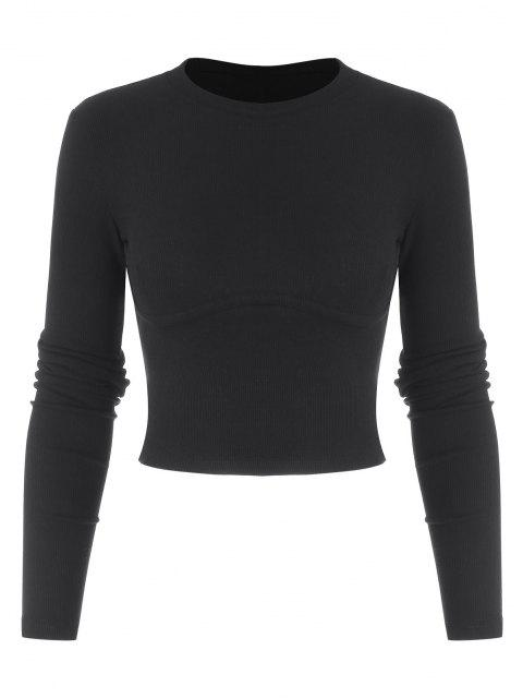 affordable Cropped Solid Ribbed Baby Knitwear - BLACK M Mobile