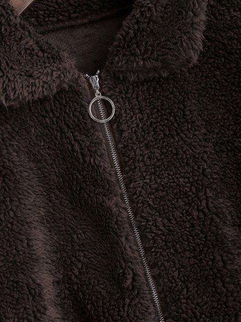 ZAFUL Abrigo Teddy de Piel Sintética con Bolsillo Frontal - Moka M Mobile