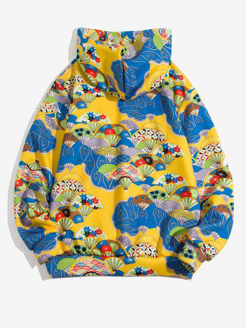affordable Floral Fan Pattern Front Pocket Japan Style Hoodie - SUN YELLOW XL Mobile
