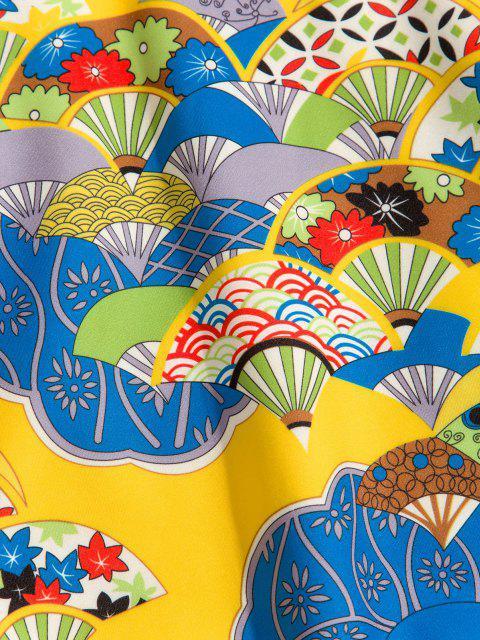 Sweat à Capuche Style Japonais Motif Fleuri avec Poche en Avant - Jaune Soleil M Mobile