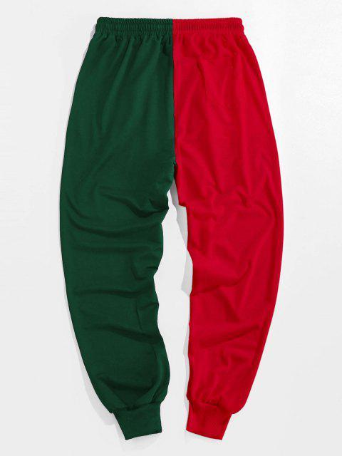 ZAFUL Pantalones Deportivos de Dos Colores con Estampado de Dibujo Animado - Verde Oscuro L Mobile