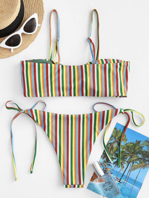 ZAFUL Conjunto de Bikini Acanalado Rayado - Verde claro S Mobile