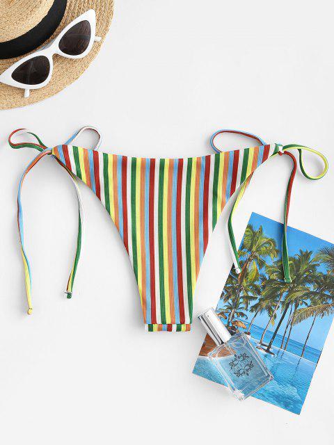 ZAFUL Gestreifte Gerippte Bikiniunterteil mit Seitlicher Krawatte - Multi S Mobile