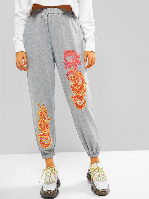 womens Dragon Graphic Oriental Pocket Jogger Sweatpants - GRAY L Mobile