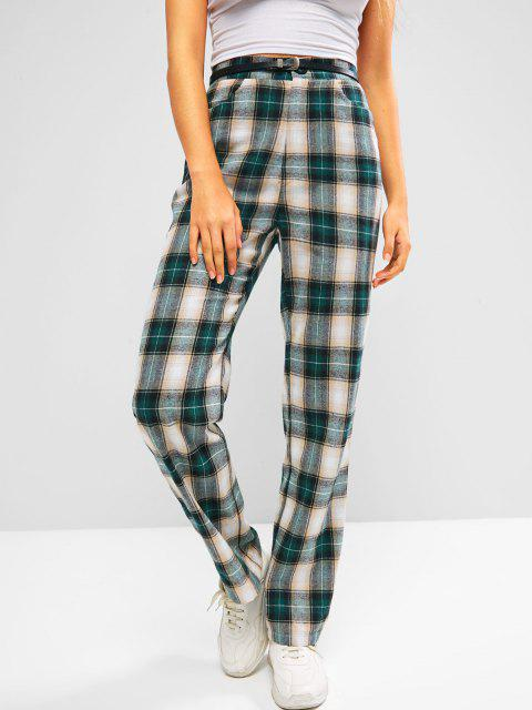 womens ZAFUL Plaid Flannel High Waisted Straight Pants - PINE GREEN S Mobile