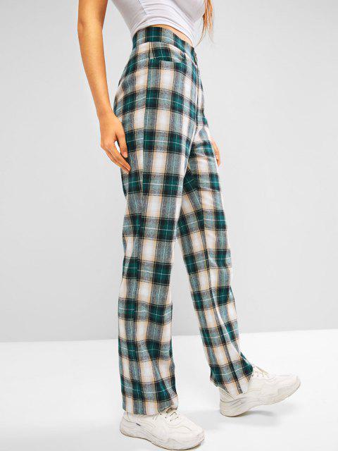 Pantaloni a Vita Alta a Quadretti di ZAFUL - Verde Pine  L Mobile