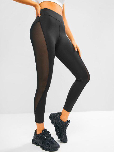ladies Mesh Side High Waisted Sports Leggings - BLACK S Mobile