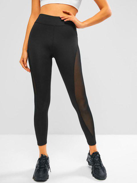 lady Mesh Side High Waisted Sports Leggings - BLACK L Mobile