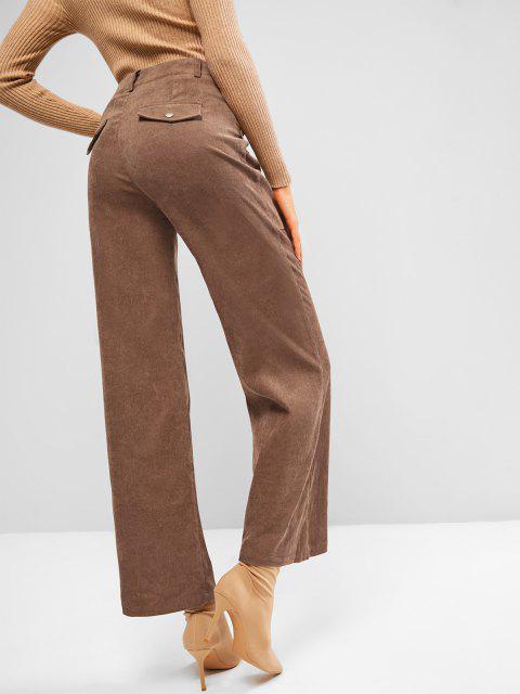 latest ZAFUL Pocket Corduroy Flap Detail Straight Pants - COFFEE M Mobile