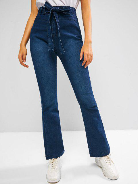 sale Dark Wash Belted Boot Cut High Rise Jeans - DEEP BLUE S Mobile