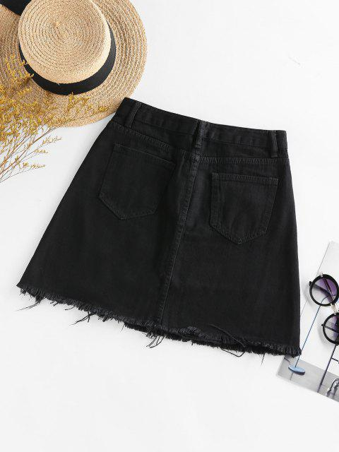 online Frayed Mini A Line Skirt - BLACK M Mobile