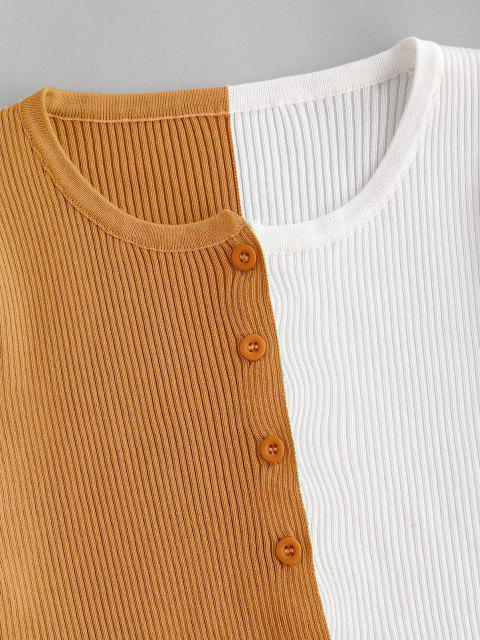 fancy Button Up Crew Neck Two Tone Cardigan - DEEP YELLOW S Mobile