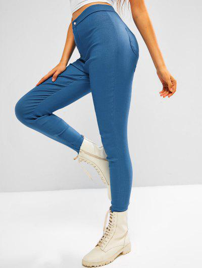 Colored Plain High Waisted Leggings - Light Blue L