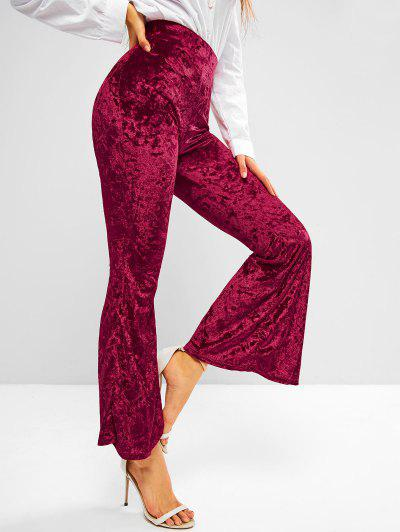 High Waisted Crushed Velvet Flare Pants - Red Wine M