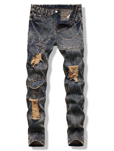 Dirty Wash Stitching Detail Ripped Jeans - Multi 42