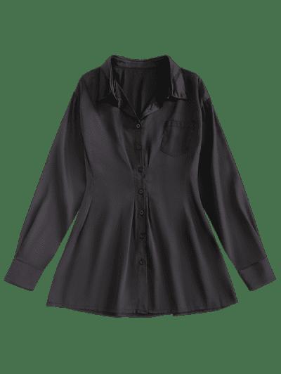 Front Pocket Silky Mini Shirt Dress