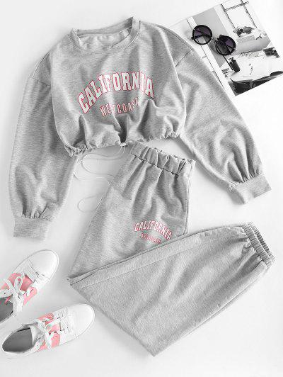 ZAFUL Letter Drop Shoulder Toggle Drawstring Joggers Set - Gray M