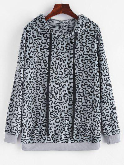 Leopard Kangaroo Pocket Plush Faux Fur Hoodie - Gray M